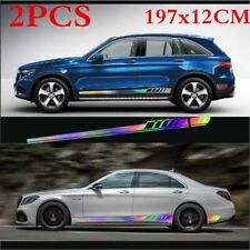 2Pcs Car Body Both Side Sticker Laser Reflective Long Stripe Decal Waterproof