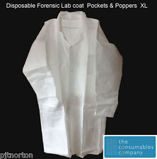 White Forensic Disposable Protective Lab Coat XL with pockets & poppers
