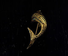 VINTAGE 1940s LEAPING DOLPHIN GOLD TONE BROOCH (T412) FANTASTIC FIND