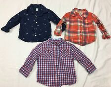 Lot Of 3 Baby Toddler Boy Long Sleeve Button Down Dress Shirts 18 Months