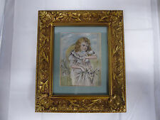 Antique Painting on Silk Child Girl with Bird Gold Frame