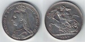 1889 VICTORIA CROWN Jubilee HEAD Silver COIN  !!!!