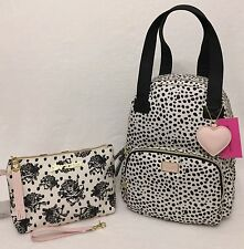 BETSEY JOHNSON 2 in 1 Backpack Tote + Weekender Cosmetic Bag Wristlet