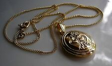 STAMPED 18ct oval locket on chain necklace gf LOW STOCK from 9ct gold bling 098