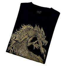 Vintage 90s Diamond Dust Dragon T Shirt Gold Glitter Black Large Single Stitch