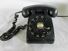 Vtg Bell System Rotary Dial Black Desk Phone, Wait for Dial Tone Sticker!, 1957?