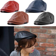 Unisexe Femmes Hommes Vintage Cuir Beret Cap Peaked Bonnet Gavroche Casquette