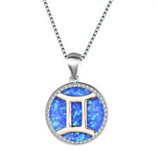 Handmade Jewelry Huge Blue Fire Opal Rose Gold Plated Silver Necklace Pendants