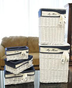 Nautical Willow Coastal Storage Rectangular Baskets Set of 5 Beach House Decor