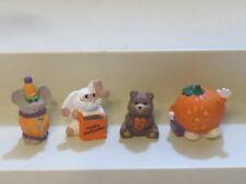 1991-1992 Hallmark Merry Miniatures Halloween Lot of 4 Mummy Bunny Pumpkin Clown