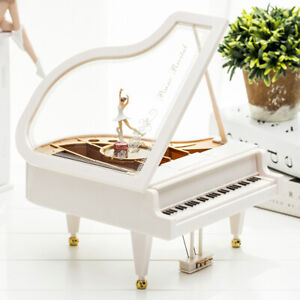 Piano Shape Music Box Ballet Dancing Girl Home Desktop Ornament Birthday Gift