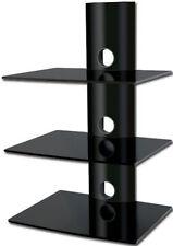 Black Glass DVD Shelves Shelf 3 Tiers Black Tube SKY Game Console LCD LED 3D TV
