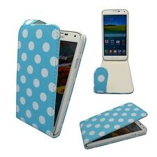 CASE FOR SAMSUNG GALAXY S5 FLIP PU LEATHER LT BLUE WHITE POLKA DOT POUCH COVER
