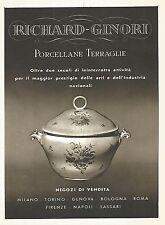 Y2317 RICHARD-GINORI Porcellane - Pubblicità del 1942 - Old advertising