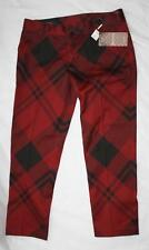 AUTH $795 Gucci Red Check Print Cotton Holiday Pants 40/4
