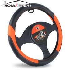 15'' Universal Car Steering Wheel Cover PU Leather Non-slip Wheel Cover Orange