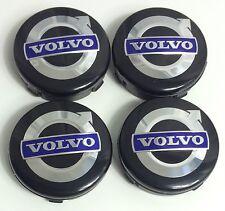 4x VOLVO ALLOY WHEELS CENTER HUB CAPS 64mm BLACK BLUE C70 S60 V60 V70 S80 XC90