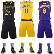 Retro #8 & #24 Kobe Bryant Los Angeles Lakers Men Youth Jersey Shorts Pants Kit