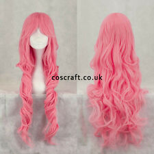 80cm long wavy curly cosplay wig in rose pink, UK seller, Jeri style
