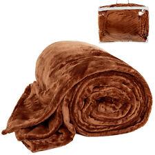 Couverture de jour polaire douillette Plaid 220 x 240 cm brun avec sacoche