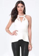 NWT bebe ivory white cutout neck race back peplum dress top XS 0 2 sexy club