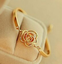 #3009 Women Golden Flower Crystal Rose Bangle Cuff Chain Bracelet