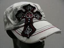 EMBELLISHED CROSS - ONE SIZE ADJUSTABLE STRAPBACK CADET STYLE CAP HAT!