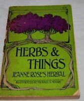 Vintage Herbs Things Jeanne Roses Herbal Book Lore 1975 Wicca Nature Pagan