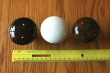 3 Door knobs Vintage porcelain white brown and tigers eye marble brown Antique