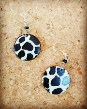 Giraffe Batik Print Bone Disc Hook Earrings Handmade Fairtrade Kenyan Jewellery