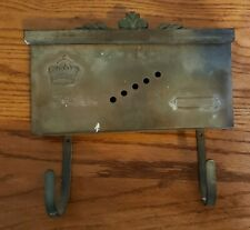 Old Vintage Antique Brass Mailbox With Newspaper Hooks Crown