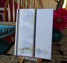 BIRTHDAY GREETINGS  ~ PEACOCK FEATHER HANDMADE GREETING CARD ~STAMPIN UP emc#026
