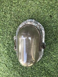 1940s INDUSTRIAL LACENT BULK HEAD LIGHT CASTIRON With Damage Great Patina Spares