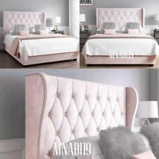 PINK PLUSH OTTOMAN SUPER KING BED FRAME NEW SALE FREE DELIVERY