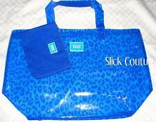 Victoria's Secret PINK Beach Tote PLASTIC BLUE LEOPARD + Bikini Bag Spring Break