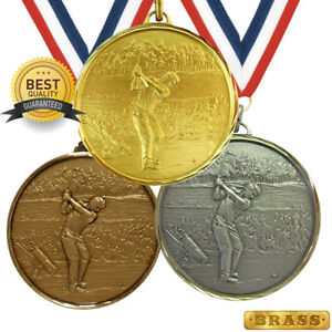 GOLF GOLFING BRASS MEDAL 52mm BEST QUALITY, FREE RIBBON, 3 COLOURS,