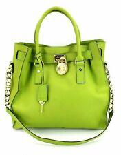Michael Kors Tasche Hamilton Handtasche Schultertasche grün Leder goldfarben MK