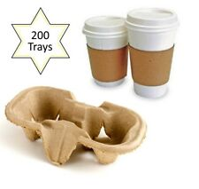 200 x 2 Cup Takeaway Cardboard Carry Tray Holder Tea Coffee Party Event Catering