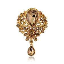 Fashion Large Drop Pendant Champagne Crystal Rhinestone Wedding Grace Brooch