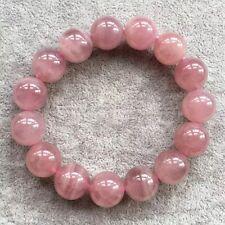 14mm Natural Madagascar Rose Quartz Crystal Round Beads Bracelet AAA