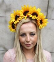 Large Yellow Sunflower Flower Headband Hair Crown Festival Garland Races 5434