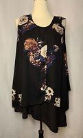 Melissa Mccarthy Seven7 Plus Floral Black Tunic Size 2X