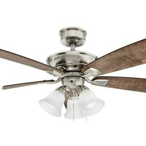 Wellton 60 in. LED Brushed Nickel DC Motor Ceiling Fan with Light by Hampton Bay