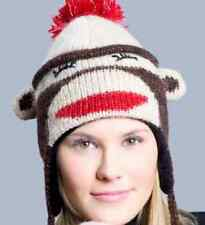 deLux SOCK MONKEY HAT Knit ADULT costume black LND sleep cap red lip brown toque