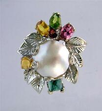 Mabe Pearl & Colorful Gemstones Sterling Silver Ring