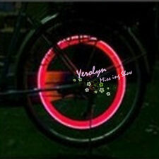 Red Color Bicycle Bike Car Tyre Tire Valve Wheel Caps LED Flash Light Lamp