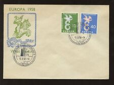 GERMANY 1958 EUROPA FDC CHARLOTTENBURG SPECIAL PMK + HORSE ILLUSTRATED