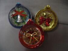 """Christmas Tree Ornament 3 Plastic Shadow Box Blue, Red, Gold 2.25"""" Retro #1"""
