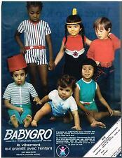 PUBLICITE  1970   BABYGRO   pyjamas  sous vetements  enfants