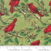 Christmas Splendid MODA Red Cardinals on Leaf Grn 100% cotton fabric by the yard